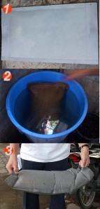 เพื่อให้ใช้เวลาเร็วที่สุดในการบวมของกระสอบทราย ควรเอาไปจุ่มในถังน้ำ